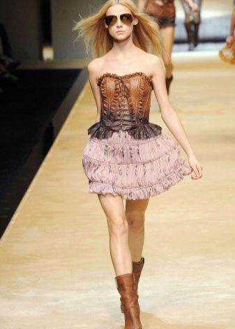 легкая шифоновая  юбка с воланами