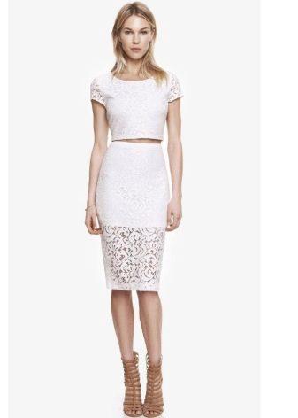 Белая кружевная юбка карандаш с прозрачной нижней частью