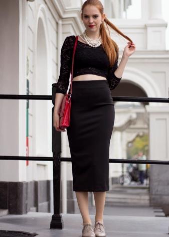 Длинная черная юбка карандаш