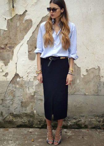 Длинная юбка карандаш для делового образа