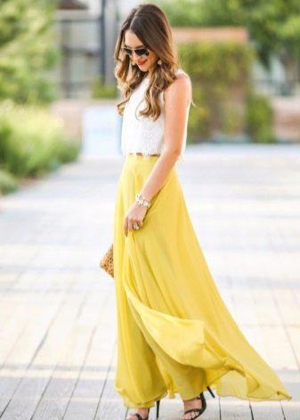 Длинная юбка полусолнце горчичного цвета