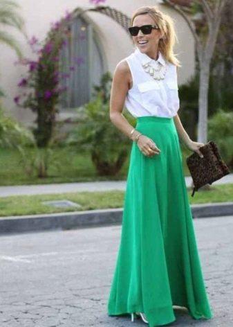 Длинная юбка полусолнце зеленого цвета