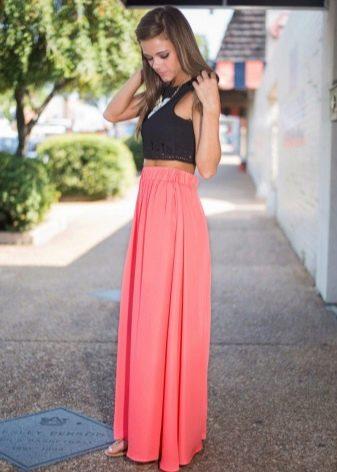 Длинная юбка полусолнце кораллового цвета