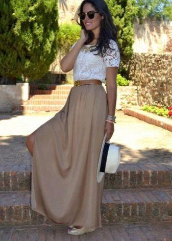 Длинная юбка полусолнце для девушек с фигурой стройная колонна