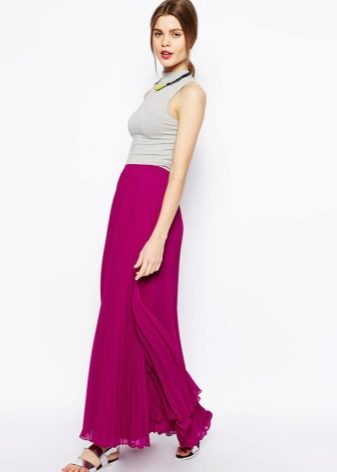 Длинная юбка фуксия