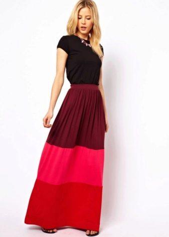 Разноцветная длинная юбка
