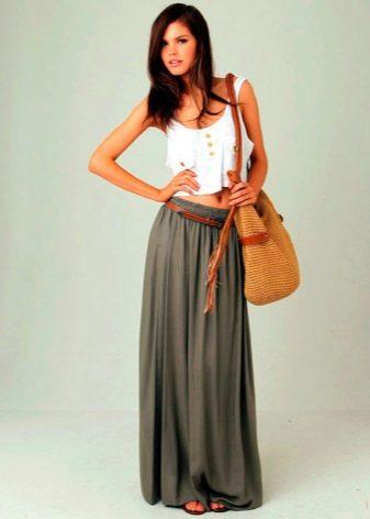 длинная летняя юбка-трапеция