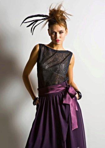 лиловая длинная летняя юбка с атласным поясом