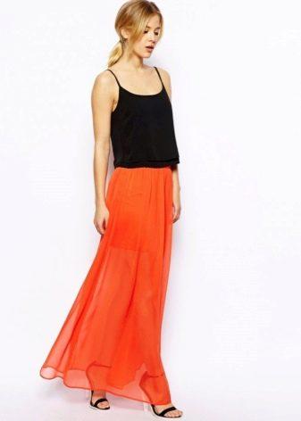 длинная юбка с контрастным топом