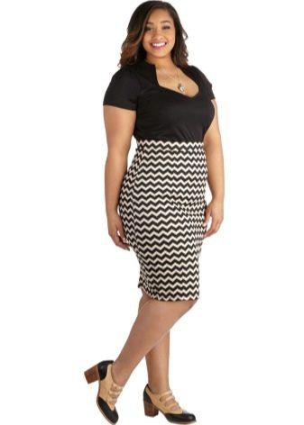 черно-белая юбка-карандаш для полных женщин
