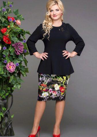 юбка-карандаш с цветочным принтом для полных женщин
