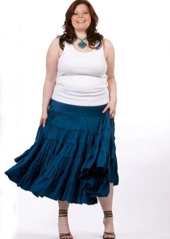 А-образная юбка с воланами для полных женщин
