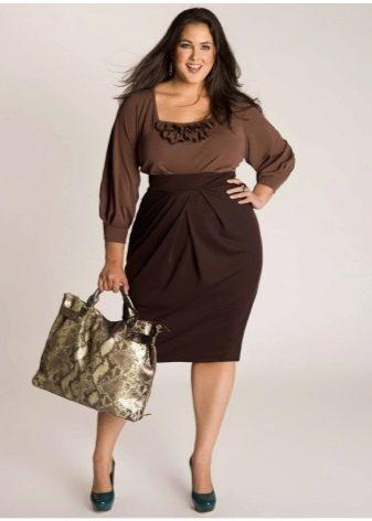 шоколадная юбка-тюльпан для полных