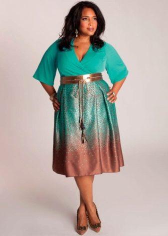 двуцветная юбка-миди для полных женщин