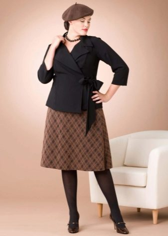 клетчатая юбка-миди для осени