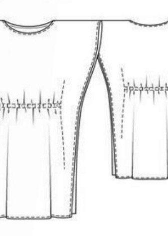 Технический рисунок прямого платья с рукавом летучая мышь