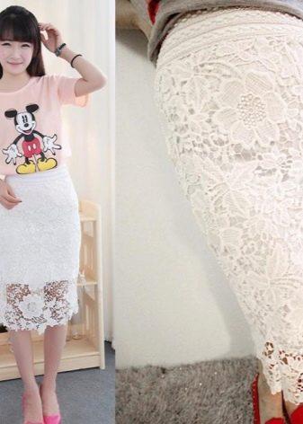 белая кружевная юбка-карандаш