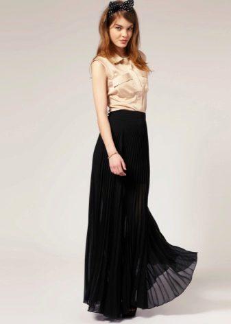 Черная легкая юбка для лета