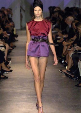 лиловая микро юбка-тюльпан