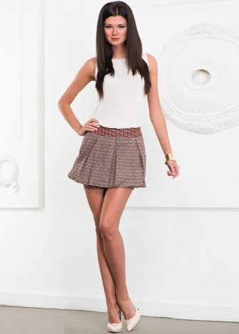 пестрая юбка-плиссе