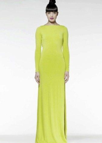 Длинное салатовое платье с длинным рукавом
