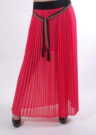 юбка-плиссе из малинового шифона