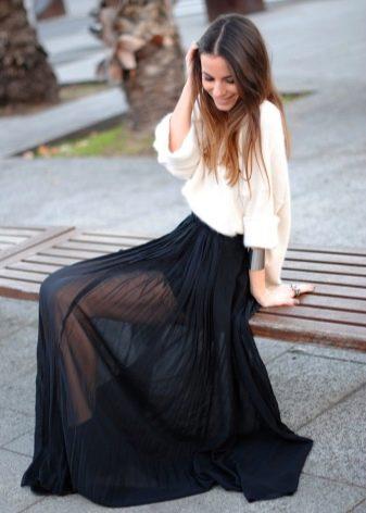Черная длинная шифоновая юбка