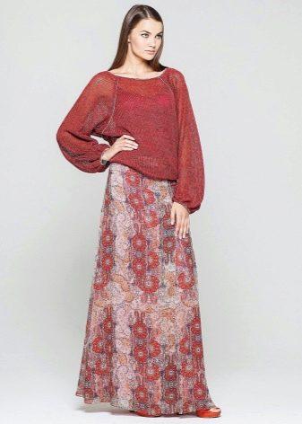 длинная спортивная юбка с цветочным принтом