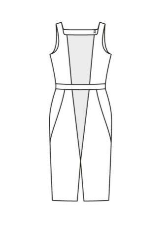 Платье-футляр в стиле колор блокинг своими руками - технический рисунок