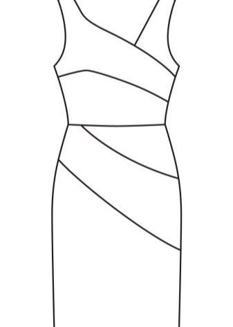 Технический рисунок платья-футляр асимметричного