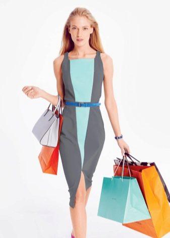 Платье-футляр в стиле колор блокинг своими руками