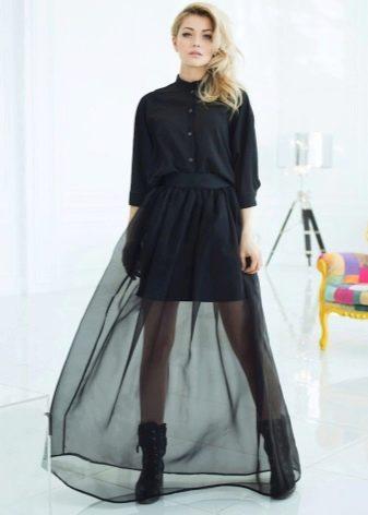Длинная юбка из органзы