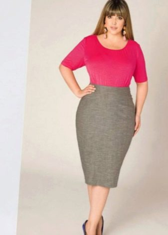 юбка-карандаш высокой посадки  для полных женщин