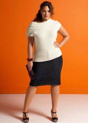 джинсовая  юбка-карандаш для полных женщин