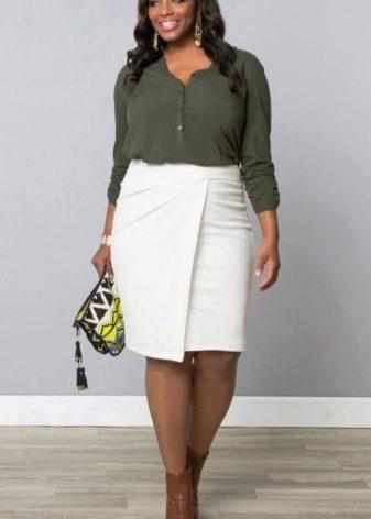 белая  юбка-карандаш для полных женщин