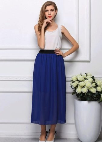 Длинная юбка полусолнце на резинке
