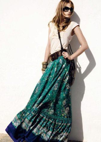 длинная юбка-солнце на резинке