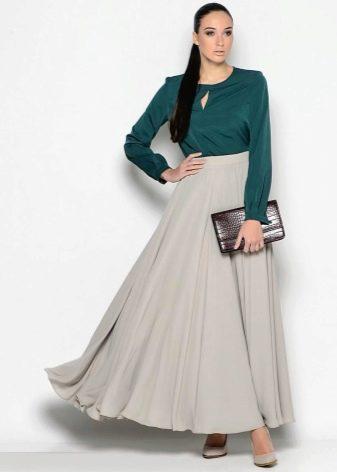 длинная юбка-солнце  из легкой ткани