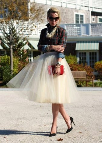белая юбка-солнце из фатина