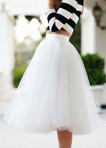 белая летняя юбка-солнце из фатина