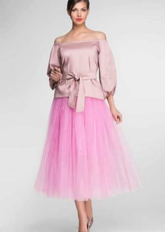 розовая юбка-солнце  из фатина
