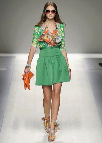 светло-зеленая юбка-солнце