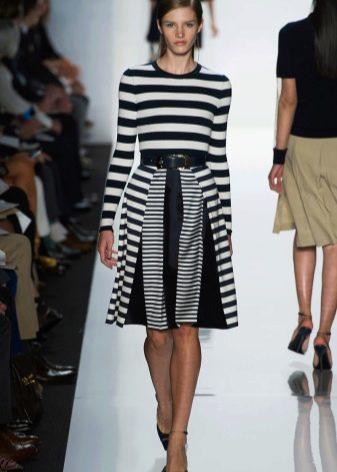 комбинированная юбка с полоску