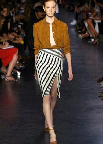 юбка в диагональную полоску с сзапахом