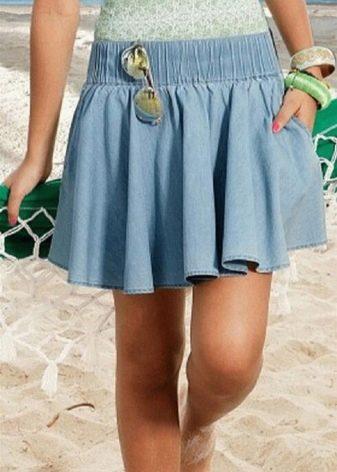 джинсовая юбка на широкой резинке