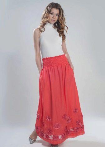 летняя юбка на широкой резинке