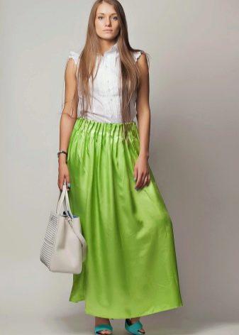 салатовая длинная юбка