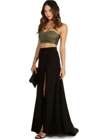 Длинная юбка со шлейфом