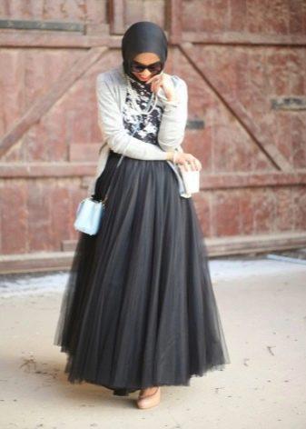 Длинная многослойная юбка солнце в пол из тафты и фатина