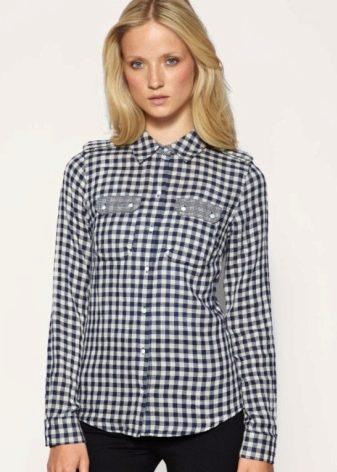 c014309bda0 Рубашка в клетку женская (128 фото клетчатых рубашек)  синие ...